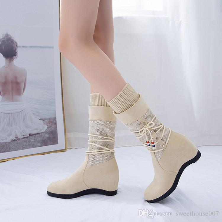Big Size 9 10 11 12 boots women shoes ankle boots for women ladies boots shoes woman winter Solid color round head sleeve flat bottom