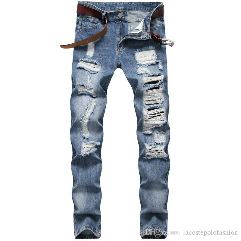 Compre Agujeros Disenador Hombres Jeans Rectos Delgados Pantalones De Mezclilla Para Hombre Casual Largo Mediados De Cintura Azul Claro Jeans Masculinos A 20 28 Del Lacostepolofashion Dhgate Com