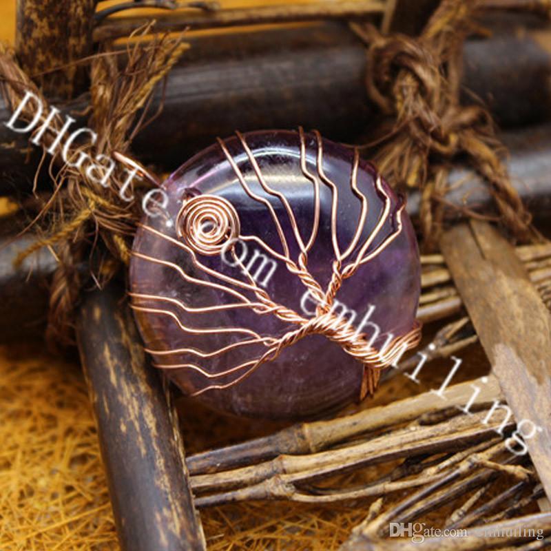 10Pcs Natural Semi Precious Gemstone Tree Of Life Pendant Fancy Wire Wrapp Quartz Pendant Protection Amulet Half Round Stone Crystal Pendant