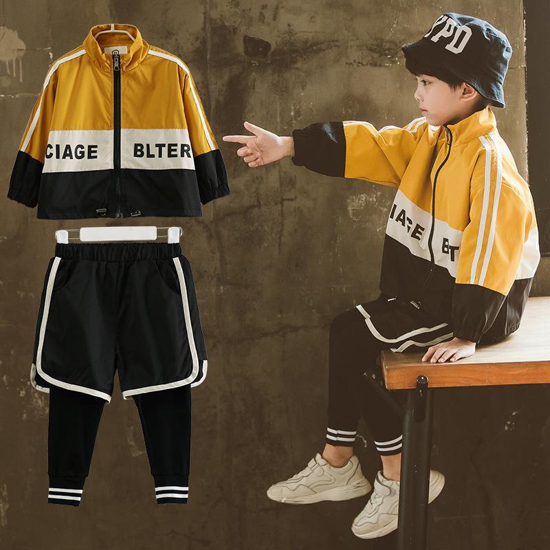 Printemps coréen 2019 Nouveaux Garçons Vêtements De Mode Bébé Vestes Pantalon 2 Pcs Ensembles Enfants garçon beau sport enfants Outfit 14 ans T200414
