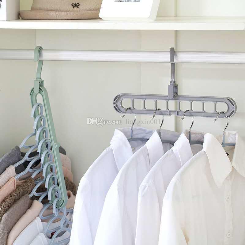 Ahorro de espacio perchas de nueve hoyos que gira suspensión de múltiples funciones mágica doblar la ropa de secado armario de plástico percha percha organizador del armario