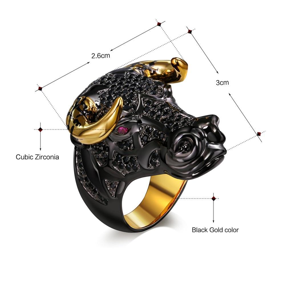 Chunky Bull negro con cuernos de color dorado Punk Hip Hop CZ Anillo grande para Unisex Hombres Mujeres Street Fashion SR2314