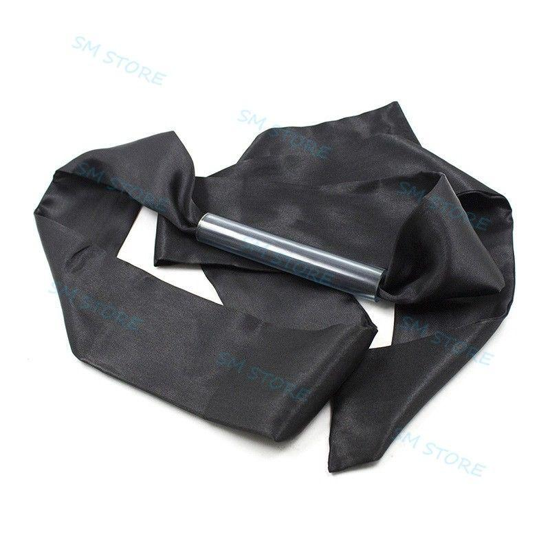 Black Satin Patch Eye Mask Flirting Blindfold Hollow Pipe Open Mouth Gag Slave A876