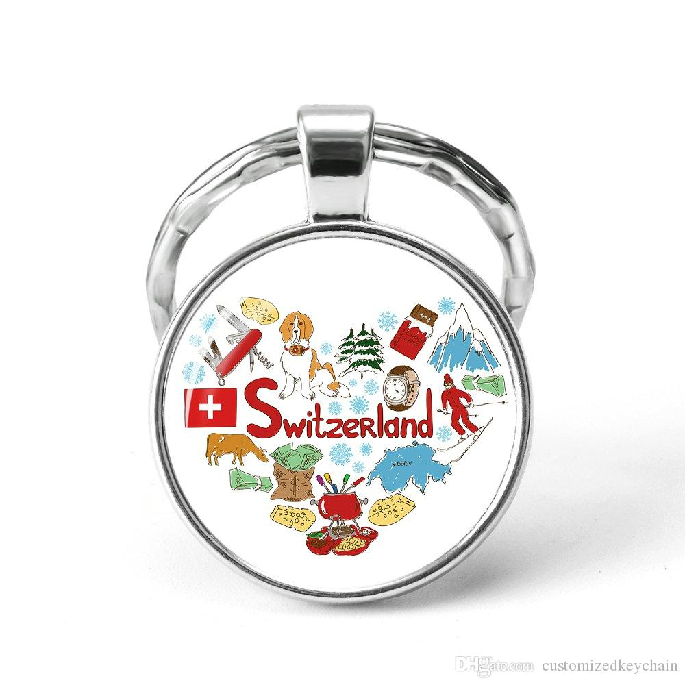Style5 Quotes Jewelry Ethnic Style Keychain Russia USA France Italy Finland Indianationality Keyring Glass Cabochon Keyring Keychain