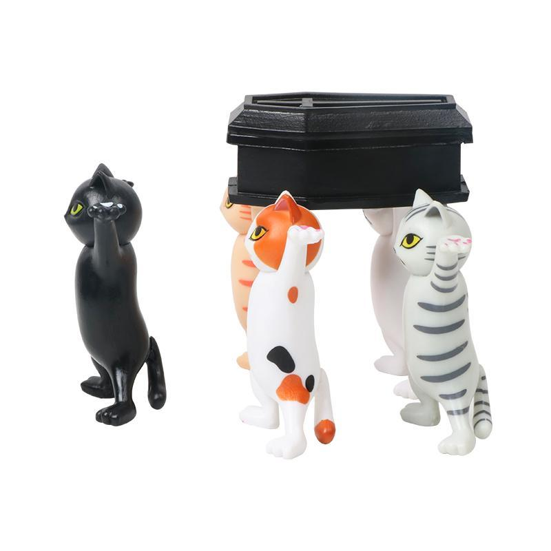 Dancing Cute Cats Coffin Dance Figure Action Funeral Team Display Toys F0F7