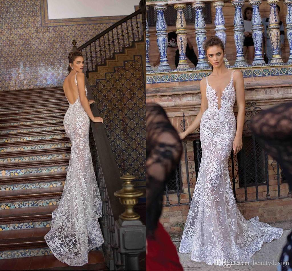 2020 Berta New Design Mermaid Wedding Dresses Luxury Lace Applique Spaghetti Backless Sexy Trumpet Beach Holiday Bride Wedding Gown