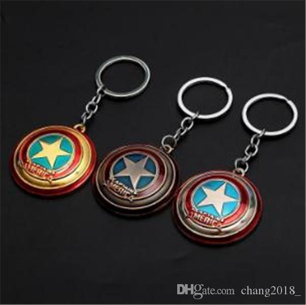 19 estilos Vengadores Capitán América Llavero Escudo superhéroe estrella colgante cadena dominante del coche Accesorios Batman Llaveros jssl01 Marvel Llavero
