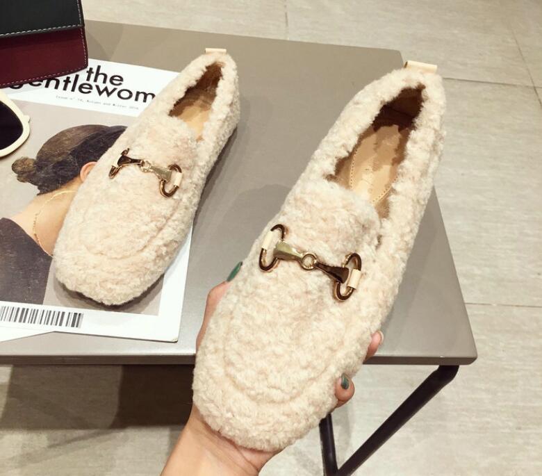 2020 nuevas mujeres del vestido de los zapatos tendencia de lujo, además de terciopelo para mantener calientes los zapatos de trabajo zapatos de ocio Bocado 483