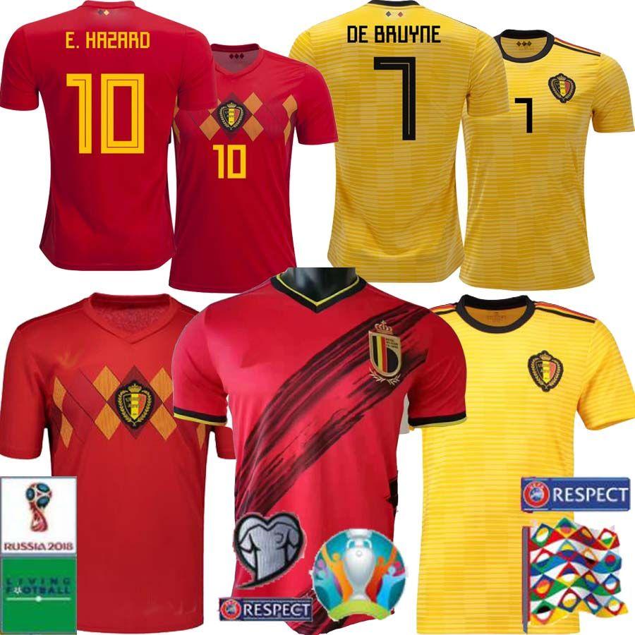 HAZARD LUKAKU MERTENS Soccer jersey Belgium Home red 19 20 VERMAELEN DE BRUYNE NAINGGOLAN 2020 European Cup Belgium away yellow Football shi