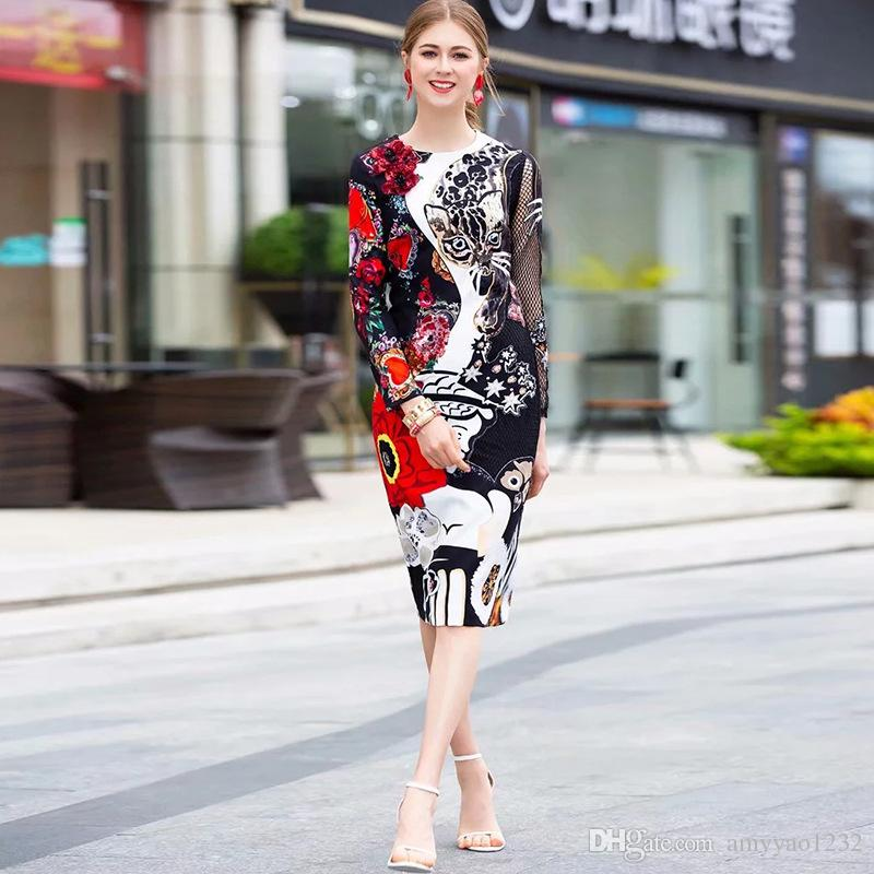 401 2019 Free Shipping Black Brand Same Style Dress Summer Crew Neck A Line Knee Length Long Sleeve Print Polyester Empire YMI