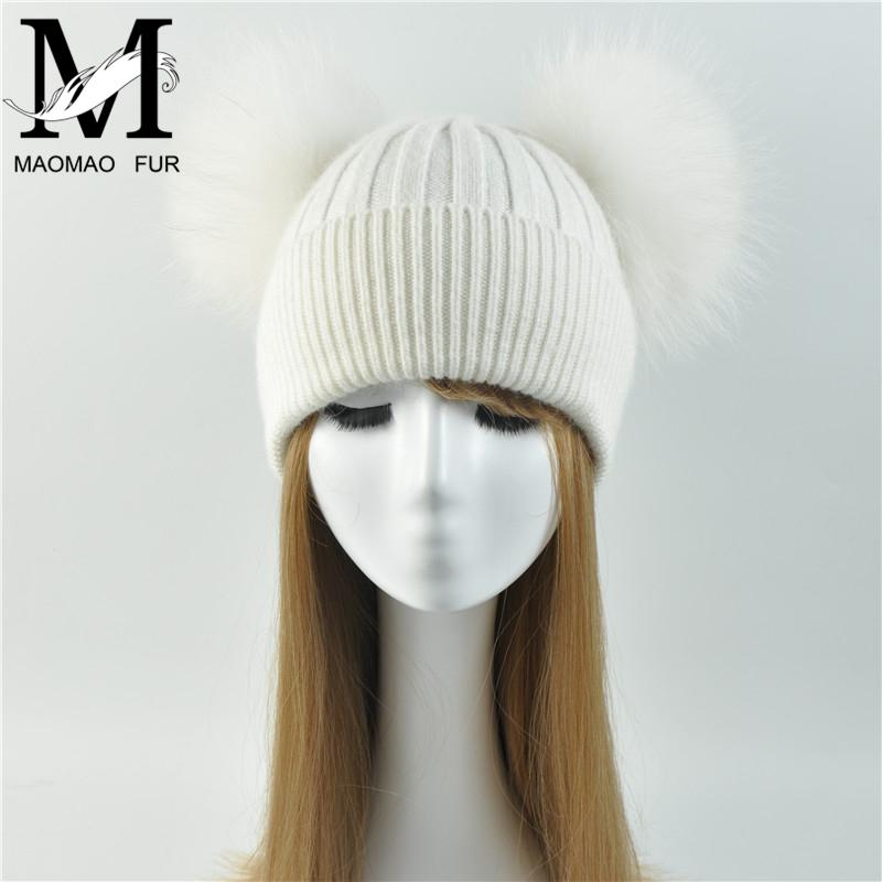 Real Pompom hat Winter Hats for Women Knitted hat Beanie Winter hat Skullies Beanies