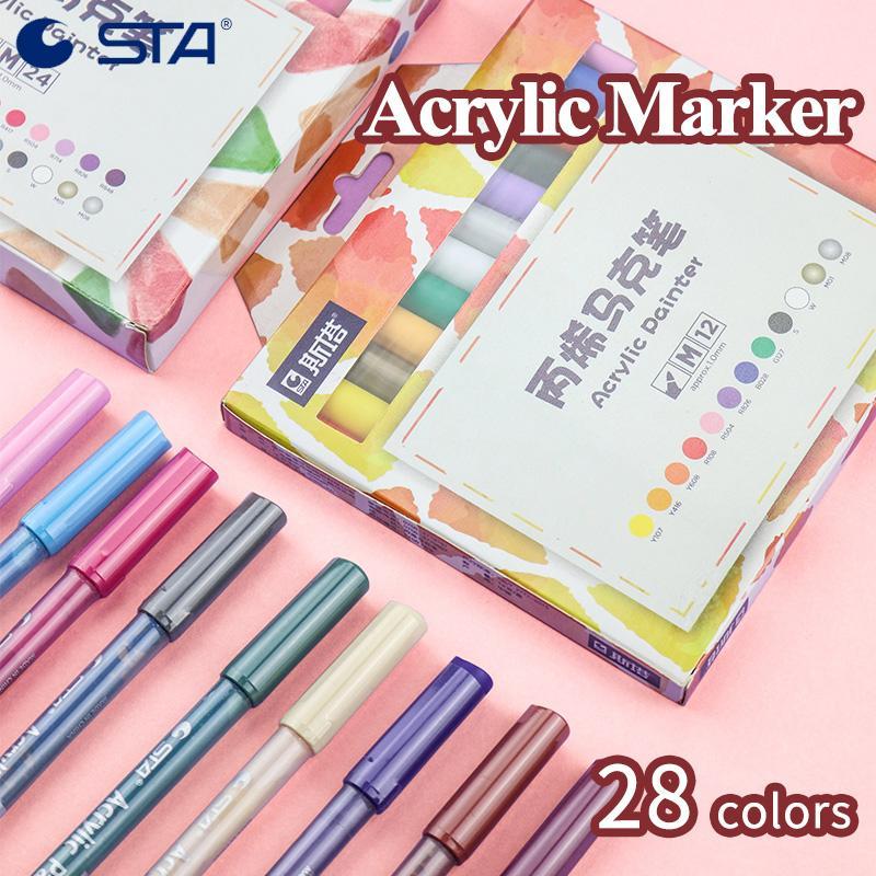 STA Creative Colored Acrylic Painter Marker Pen 12/24/28 цветов чернила на водной основе DIY Graffit холст / керамика / ткань живопись 1100