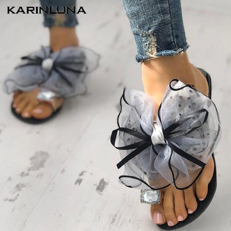 Karni 2020 New Fashion Women Slides Low Heel Butterfly-knot Summer Outside Women Flip Flops