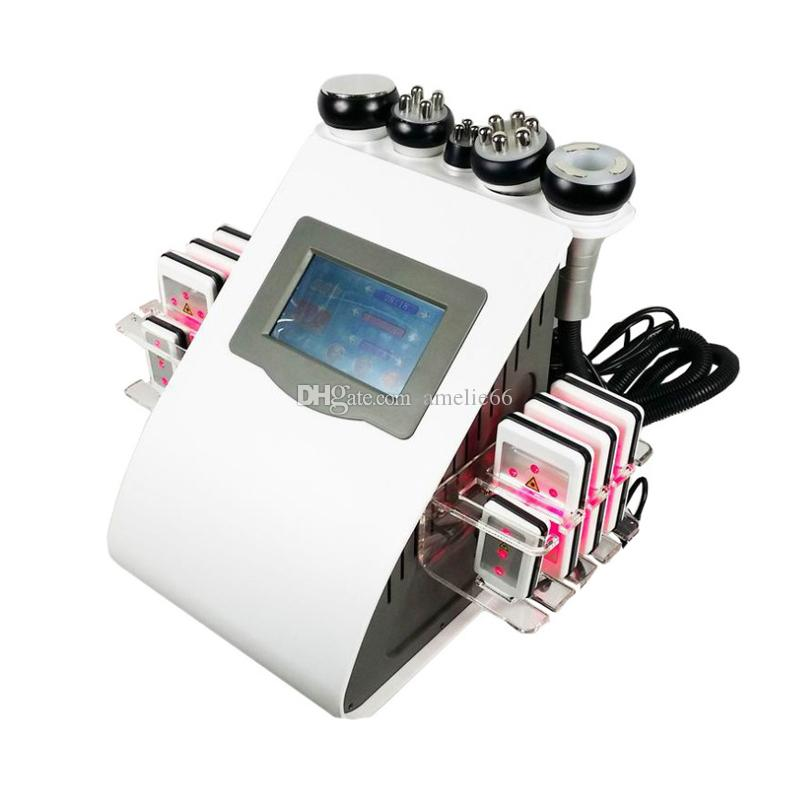 최신 휴대용 6in1 Lipo 레이저 캐비테이션 + RF 진공 RF 40K 캐비테이션 진공 Lipolaser 슬리밍 체중 감량 기계 UPS DHL 운수