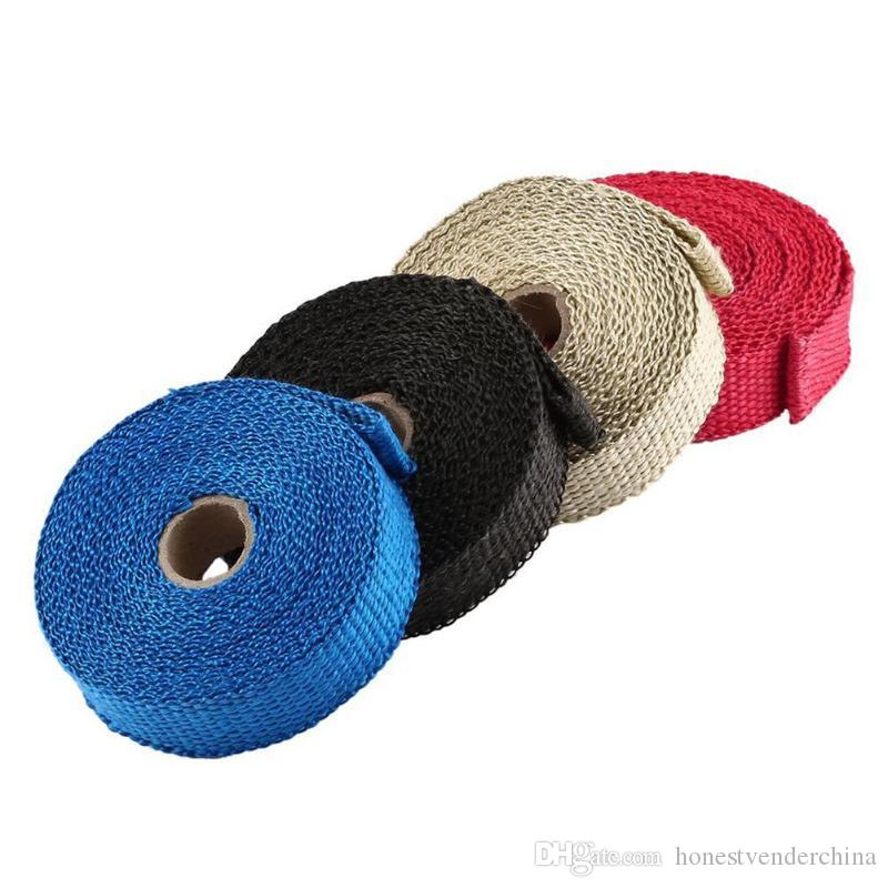 5m Thermal Exhaust Tape Exhaust Pipe Wrap Header Heat Resistant Cloth With Steel Strap For Car Motorcycle Intake Parts
