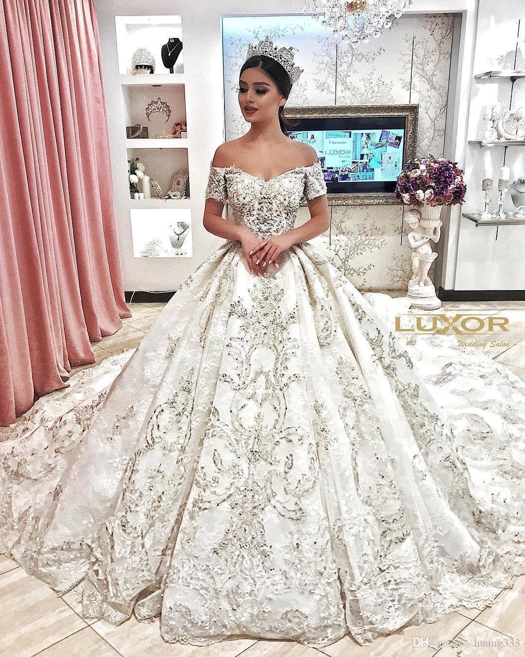 2019 New Princess Beaded Off Shoulder Ball Gown Wedding Dresses Arabic Dubai Appliques Bridal Gown robe de mariee