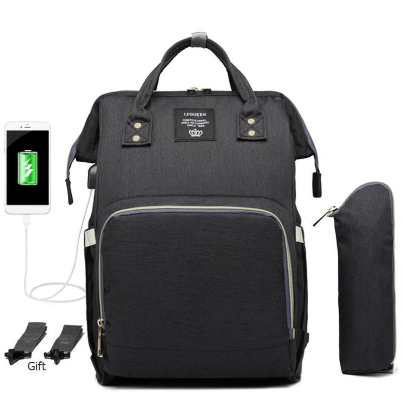 Bolsas de pañales LEQUEEN bebé interfaz USB bolsa de pañales de gran capacidad impermeable bolsa de pañales mamá maternidad mochila de viaje bolso de enfermería