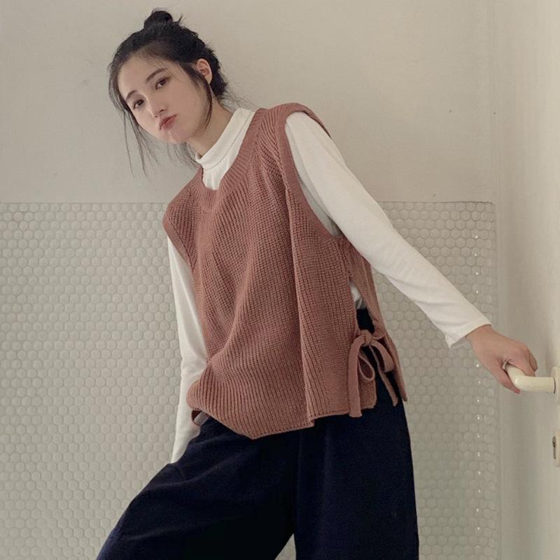 Autunno Donne Maglione Gilet 2019 Harajuku delle donne elegante Student pizzo pullover a maglia Tops Outerwear Vest