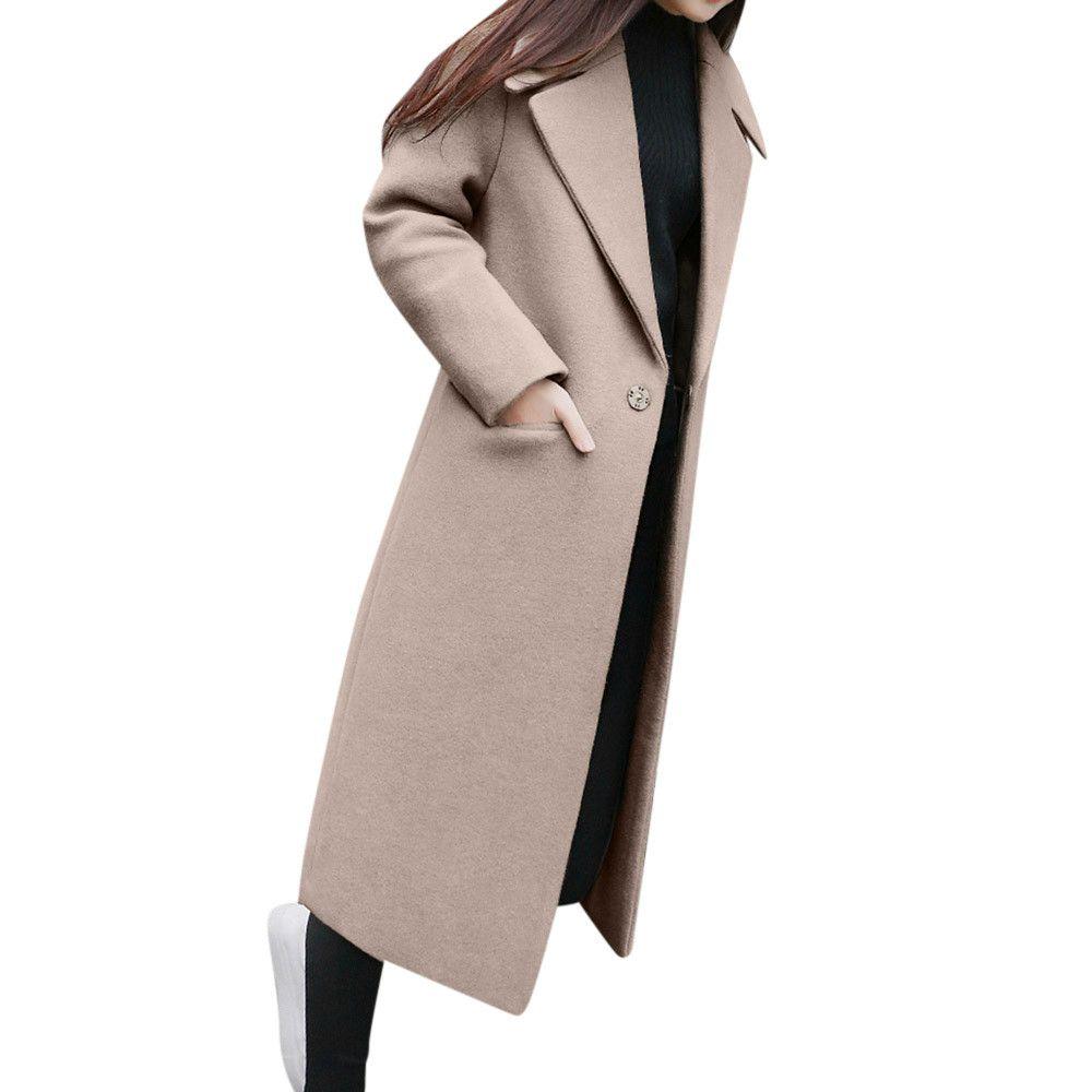 Forma-Womens inverno lapela casaco de lã Trench Jacket Long Sleeve Overcoat Outwear Jacket Casual bolso menina Overcoat Top outerwear feminino