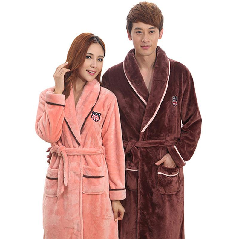 Autumn Winter Thick Flannel Pajamas For Men And Women Bathrobes Thickened Coral Pajamas Plus Size Brand Sleepwear Thick Nightgown Warm