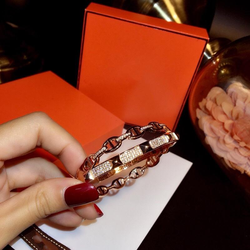 La pulsera caliente cerdo nariz Doble Diamante magnífico Dominante Rose superior de la calidad de la pulsera de manera alto francesa Calidad Oro Oro