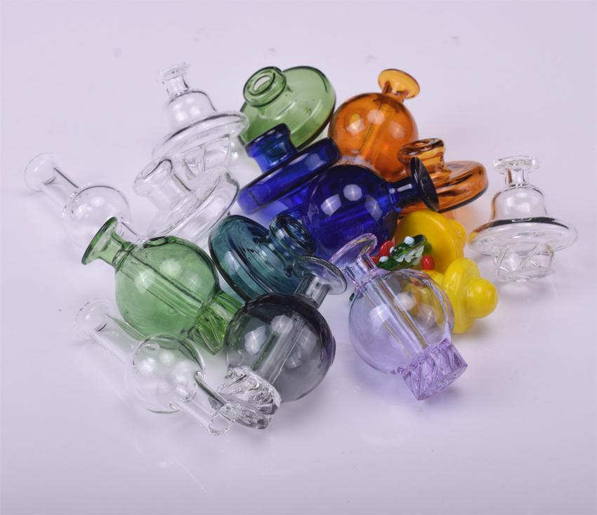 Glass Ball Carb Cap Bubble 7 styles For 10mm 14mm 18mm Honey bucket Quartz Banger Nails Glass Water Pipes Oil Rigs