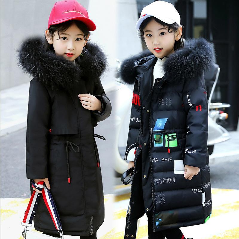 2020 chaqueta de invierno para niñas 80% pato desgaste chaquetas Parka chica la chaqueta con capucha de Rusia abrigos de invierno engrosamiento de la nieve