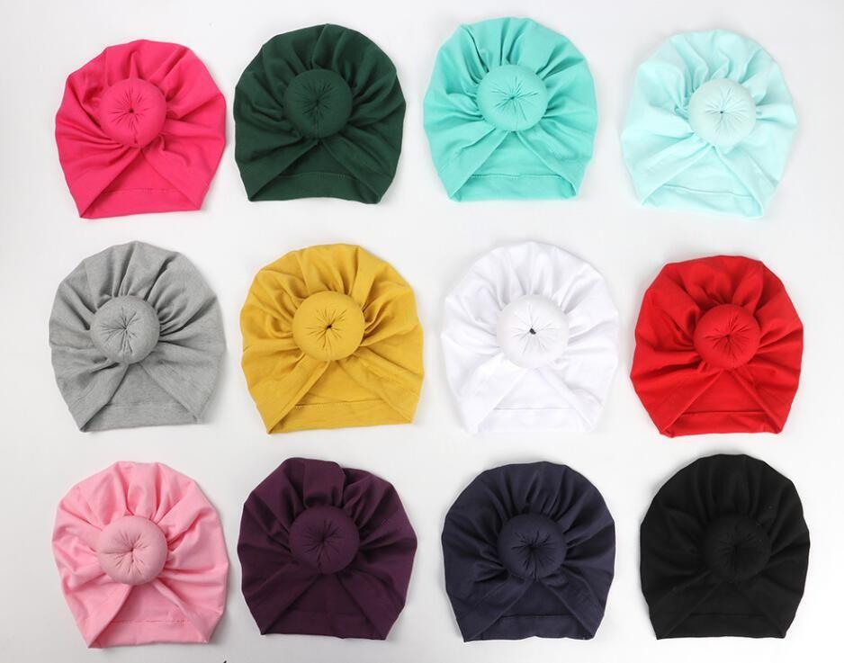 Moda lindo bebé bebé niños niños niños niños unisex bola nudo indio turbante colorido primavera lindo bebé buñuelo sombrero color sólido color de algodón