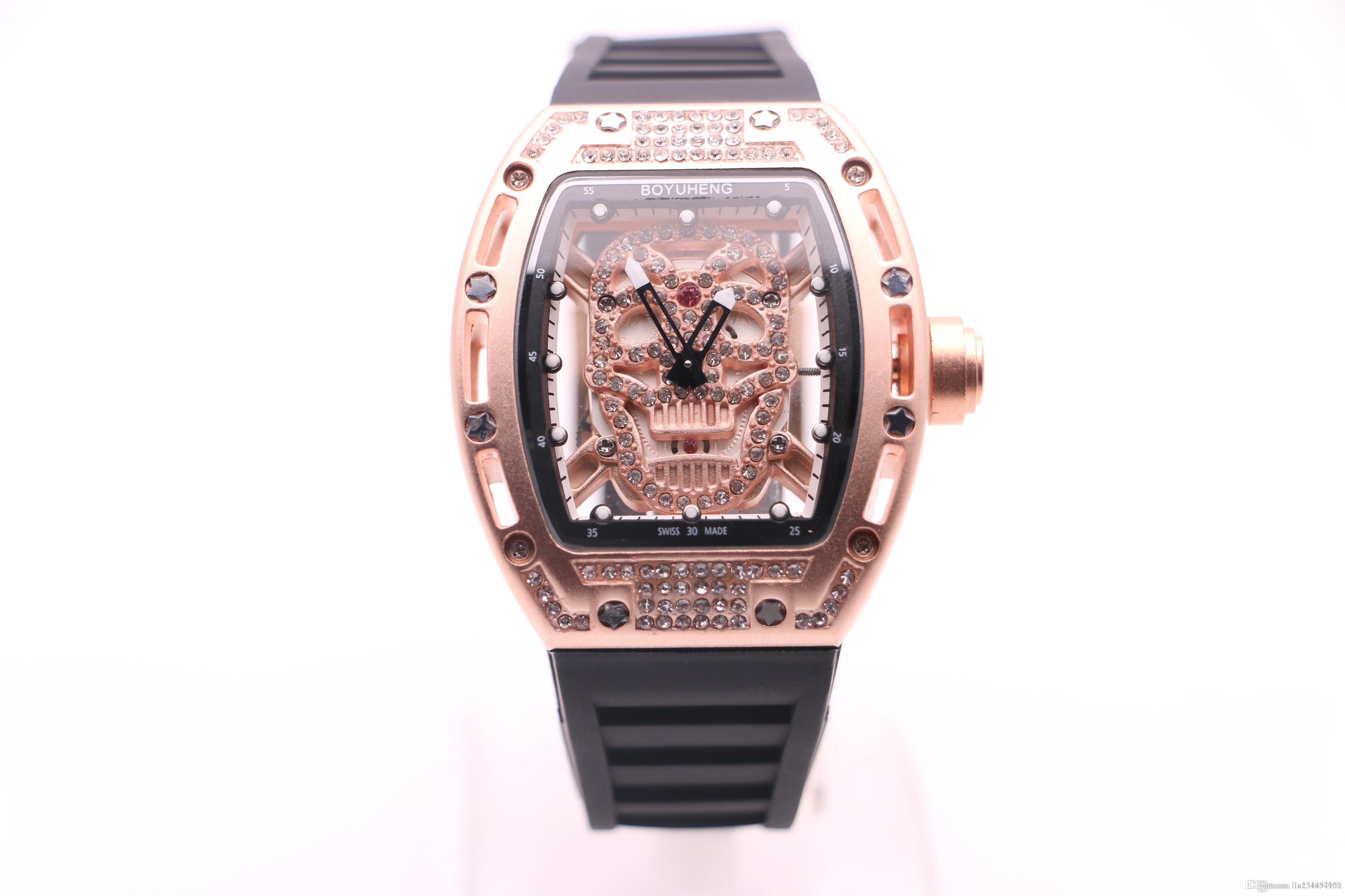 BOYUHENG 052 homem de alta qualidade legal relógio de ouro crânio dial diamante marrom do homem marrom círculo marrom de aço caso de diamante relógio de quartzo