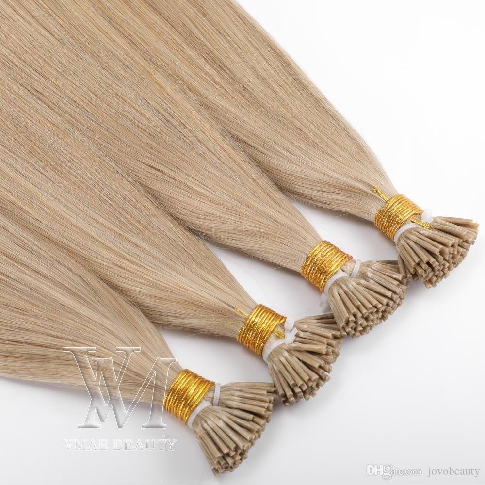 Single Drawn Natural color 0.5g/ strand 100g BrazilianEuropeanI-tip Human Pre-bonded Virgin Remy Human Straight Keratin Hair Extensions