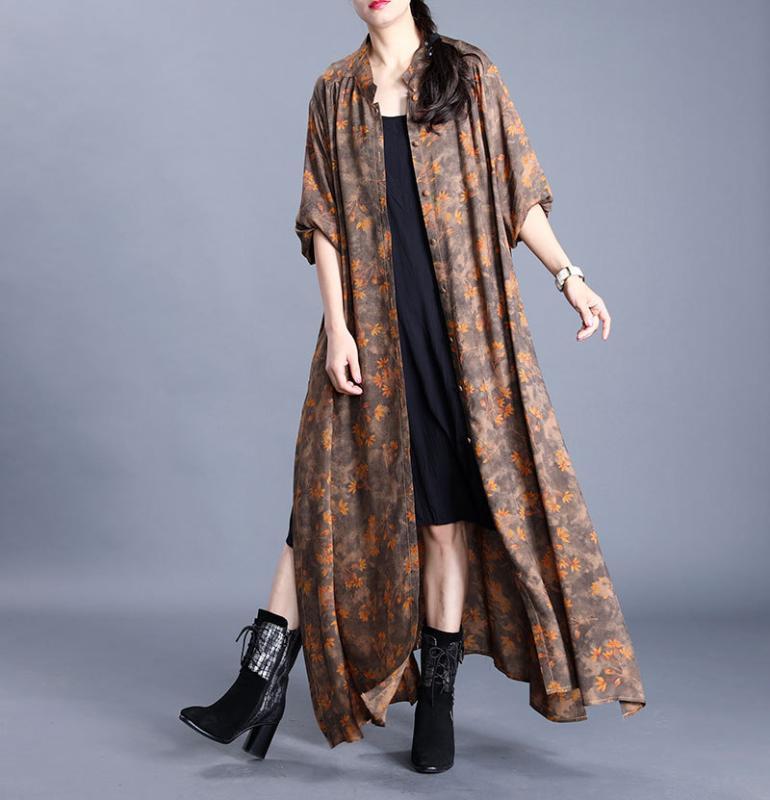 المرأة الخندق معاطف المرأة فضفاضة طويلة مطبوعة معطف قميص السيدات خمر طباعة رايون الإناث زائد الحجم المعطف 2021 الربيع