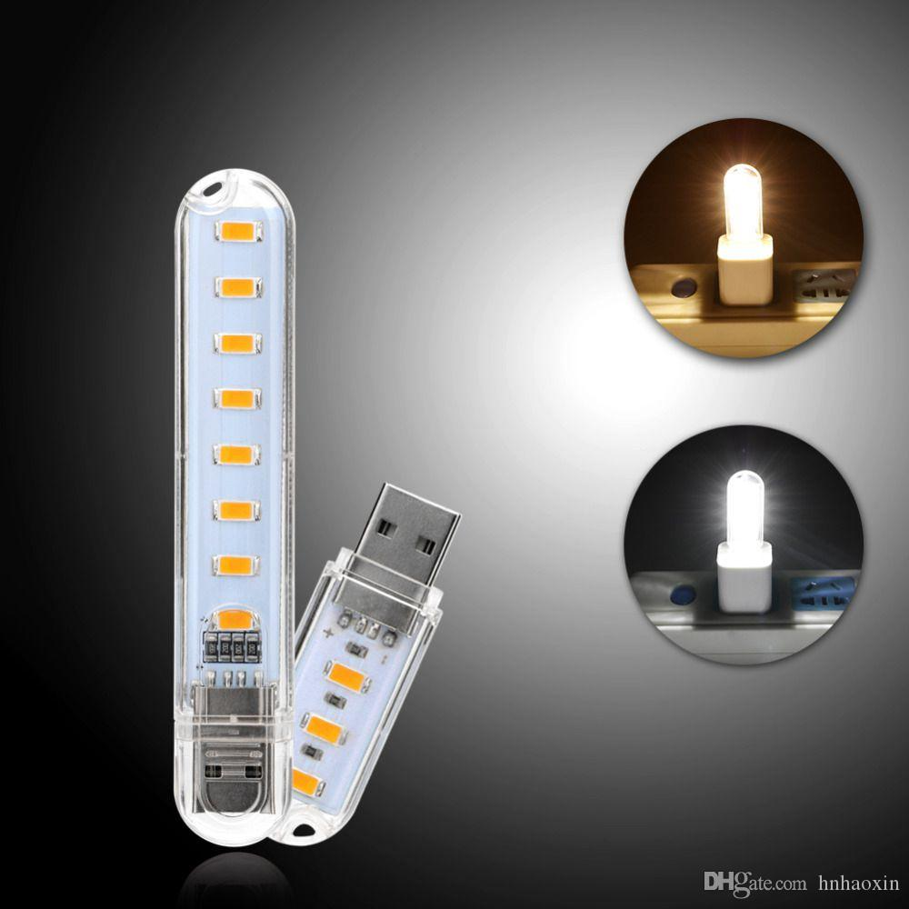 Haoxin mini luci 8 LED SMD USB LED 5730 caldi / luce bianca per il PC desktop Power Bank Key DC 5V lampada di notte