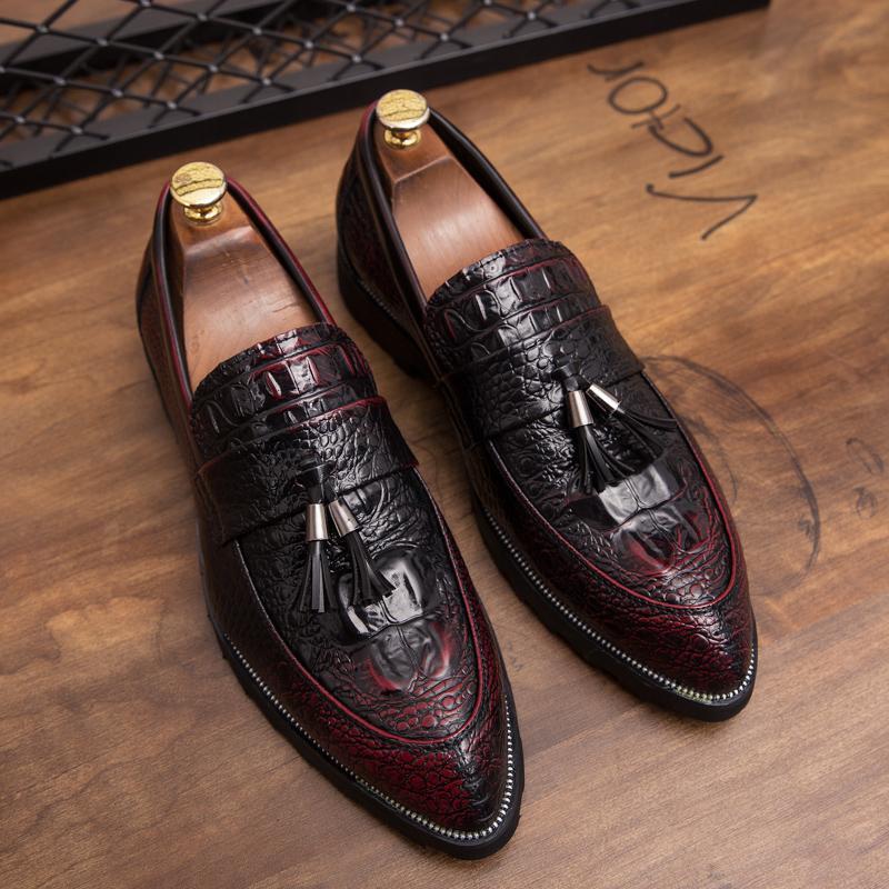 CIMIM Marka Erkek resmi ayakkabı deri lüks erkekler sivri burun elbise ayakkabı parti düğün için erkek Büyük boy loafer'lar erkekler