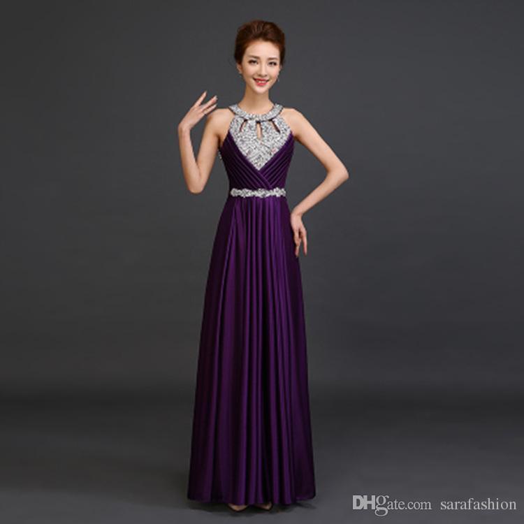 Vestidos de dama de honor de satén con cuello halter abalorios 2019 Longitud hasta el suelo Vestido formal Púrpura Royal Blue Blush Pink