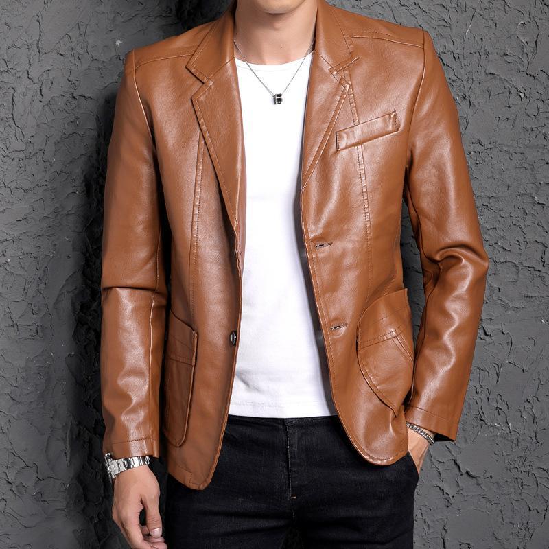 2019 가을 블랙 블루 옐로우 레드 가죽 재킷 남성 슬림 맞춤 한국어 패션 남성 정장 자켓 험 브레 가짜 가죽 재킷 코트