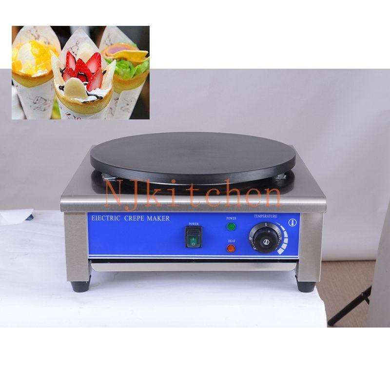 Commercial en acier inoxydable Français Crêpe Maker Machine 110v 220v électrique Waffle Pancake Grill Pan Baker 40cm La ferronnerie