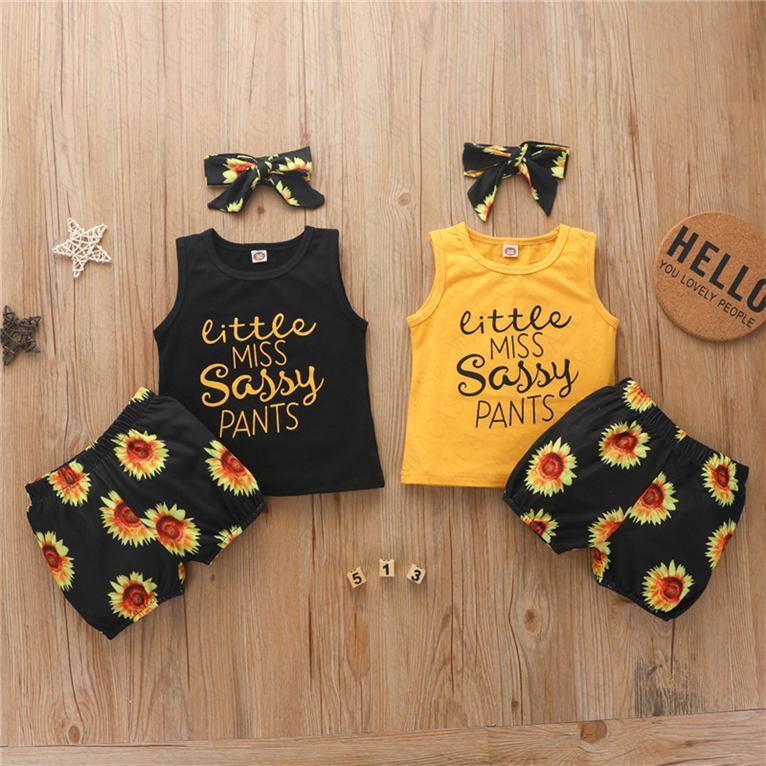 Sommer-Mädchen-Sleeveless Behälter-Weste + Sunflower Shorts + Hairband 3pcs Sets Stirnband-Haar-Verpackungs-Sport Kinder Designer Lässige Kleidung Anzug D62311