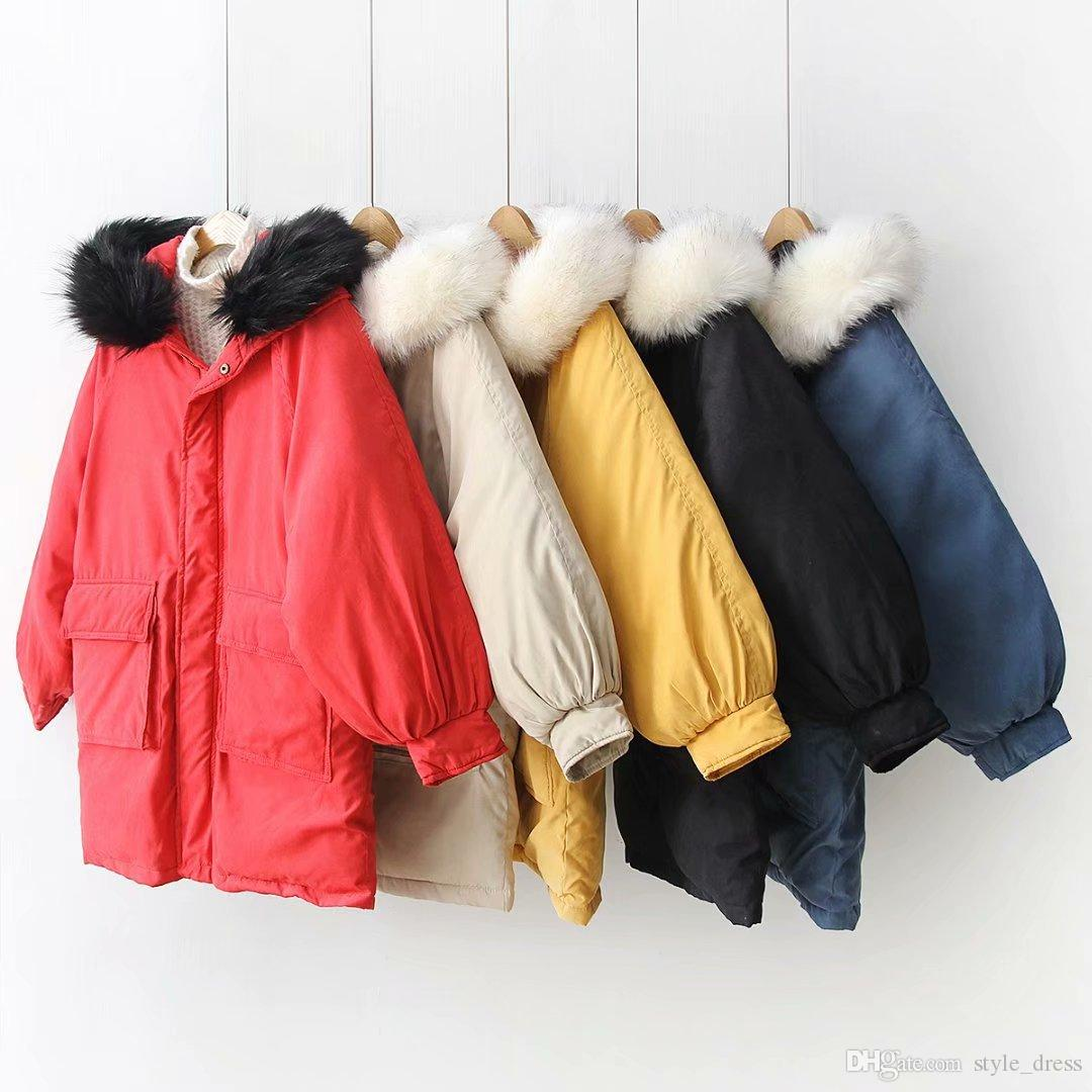Women Parkas Coat Winter Warm Thick Long Sleeve Pockets Hooded Casual Loose Cotton Down Jacket