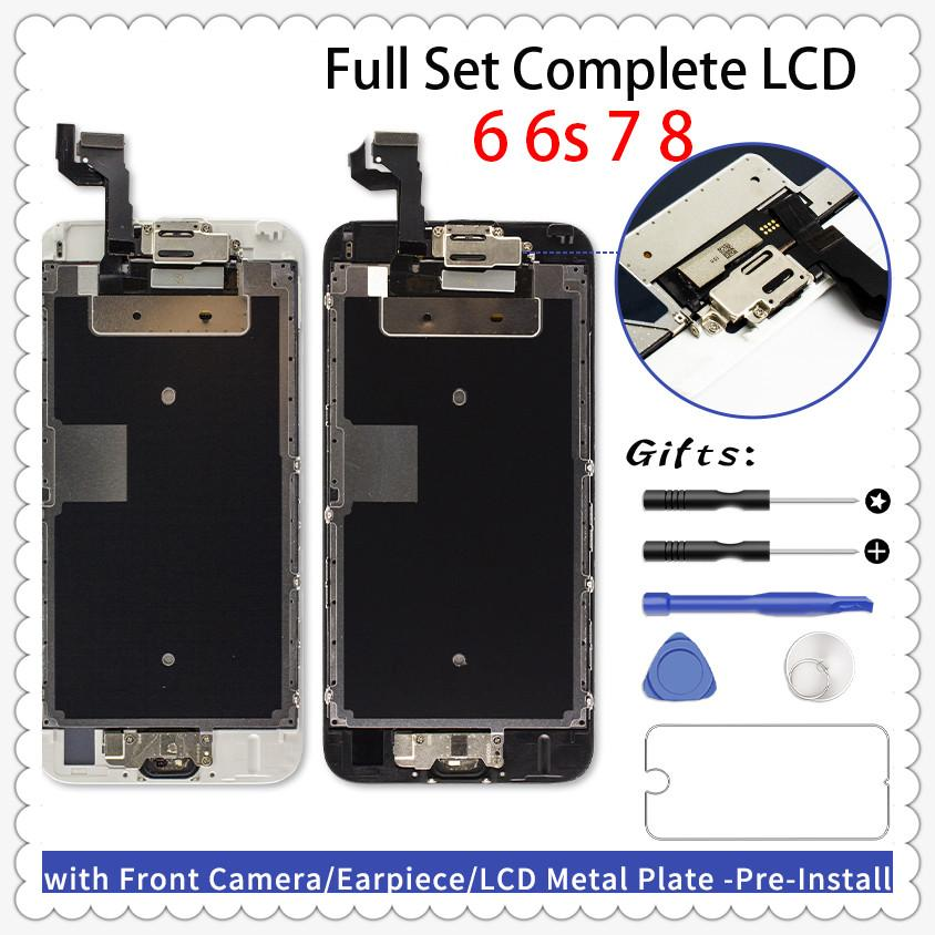 Full Set LCD Ecran für iPhone 6 6 Plus 6s 6s plus kompletter Display Ersatz 3D-Noten-Digitizer-Screen + Frontkamera + Hörmuschel