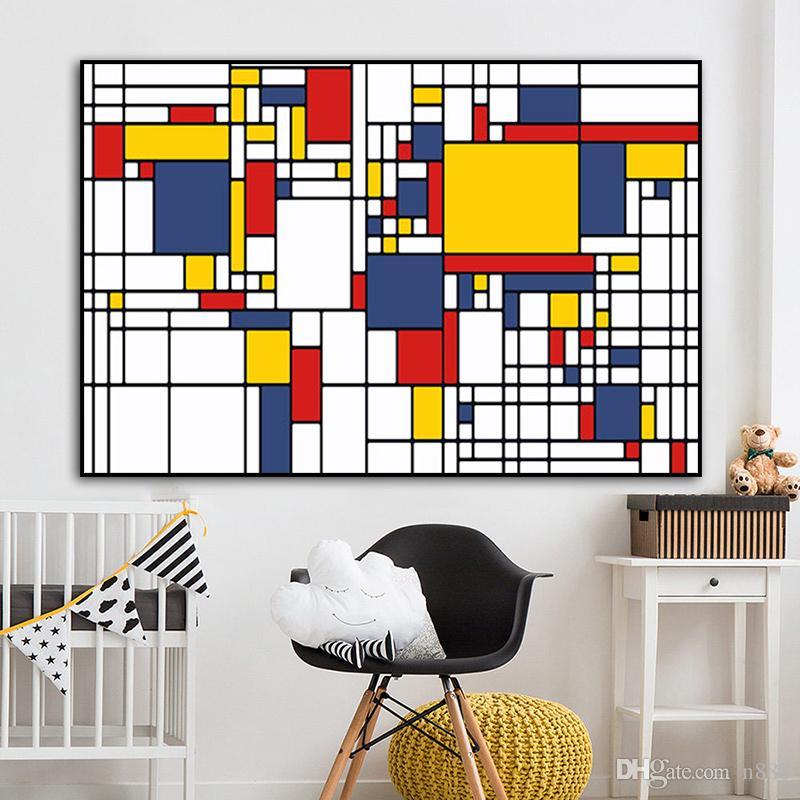 Pintura al óleo abstracta de cuadrícula las imágenes son de Piet Mondrian Cornelies cuadro moderno arte de la pared para sala de estar decoración del hogar 191005