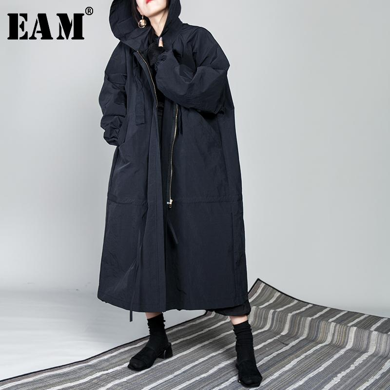 [EAM] 2020 New Spring Drawstring Full Sleeve Hooded Collar Loose Zipper Thin Big Size Long Coat Women Jacket Fashion Tide OB113 Y200101