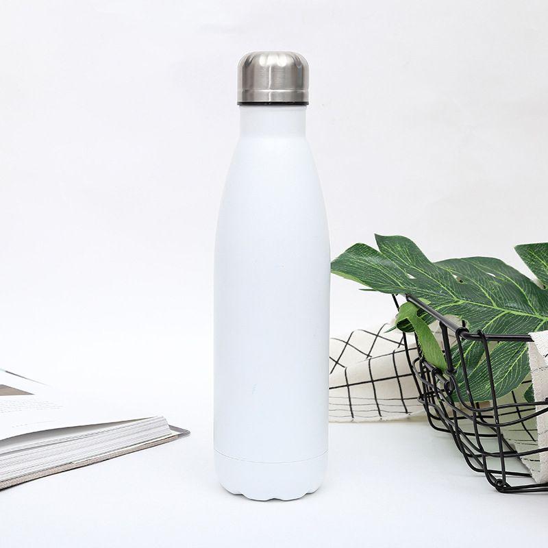 botella de agua portátil con mango ancho aislamiento térmico de doble pared reutilizable sudor Prueba de acero inoxidable de gran capacidad Botella Cola, 350/5