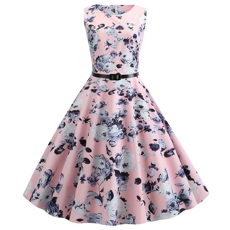Летнее платье женщины без рукавов цветочный принт винтажное платье повседневная танк ретро 50-х 60-х годов халат рокабилли шикарные вечерние платья Vestidos