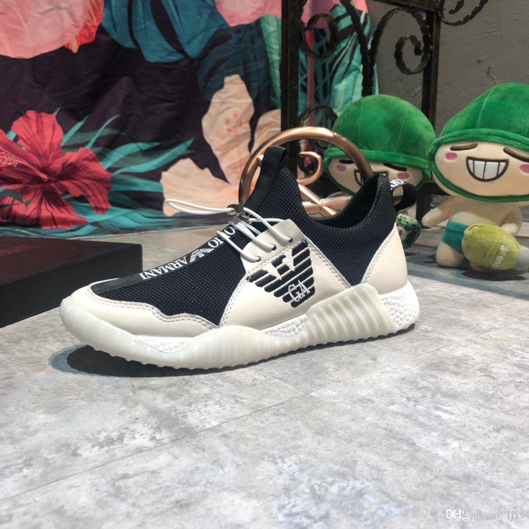 2020 hommes chaussures de tennis décoration broderie motif de surface de tricot stretch blanc top sneakers de qualité des marques de luxe chaussures de course