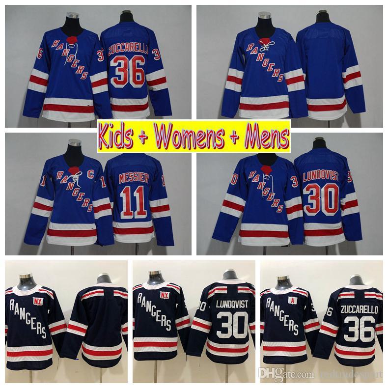 2018 겨울 클래식 청소년 뉴욕 레인저스 하키 유니폼 30 헨릭 룬트 비스트 36 Mats Zuccarello 11 Mark Messier Kids Womens Mens Shirts