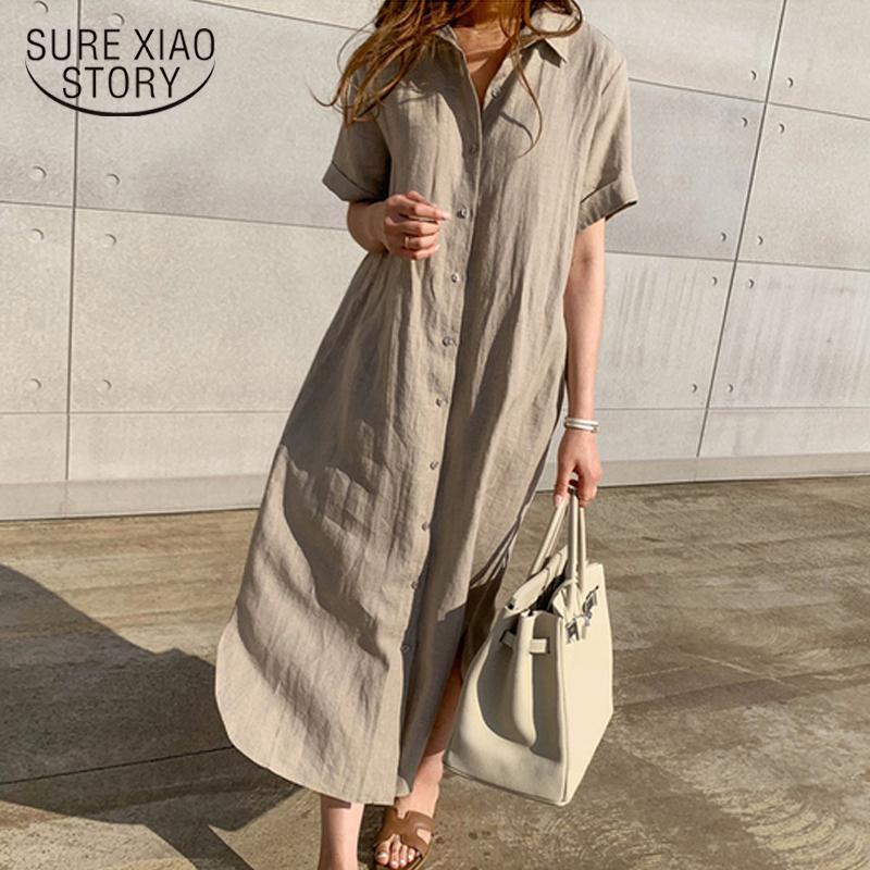 2020 Korean Summer Women Shirt Dress Vintage Plus Size Loose Cardigan Short Sleeve Solid Linen Shirt Long Dresses Vestidos 9662
