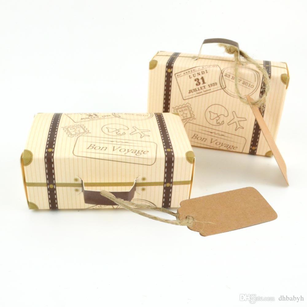 Criativo Mini Suitcase projeto 50pcs / lot Candy Candy Caixa De Embalagem Carton Chocolate Box Caixa de presente do casamento com o cartão para o partido do evento