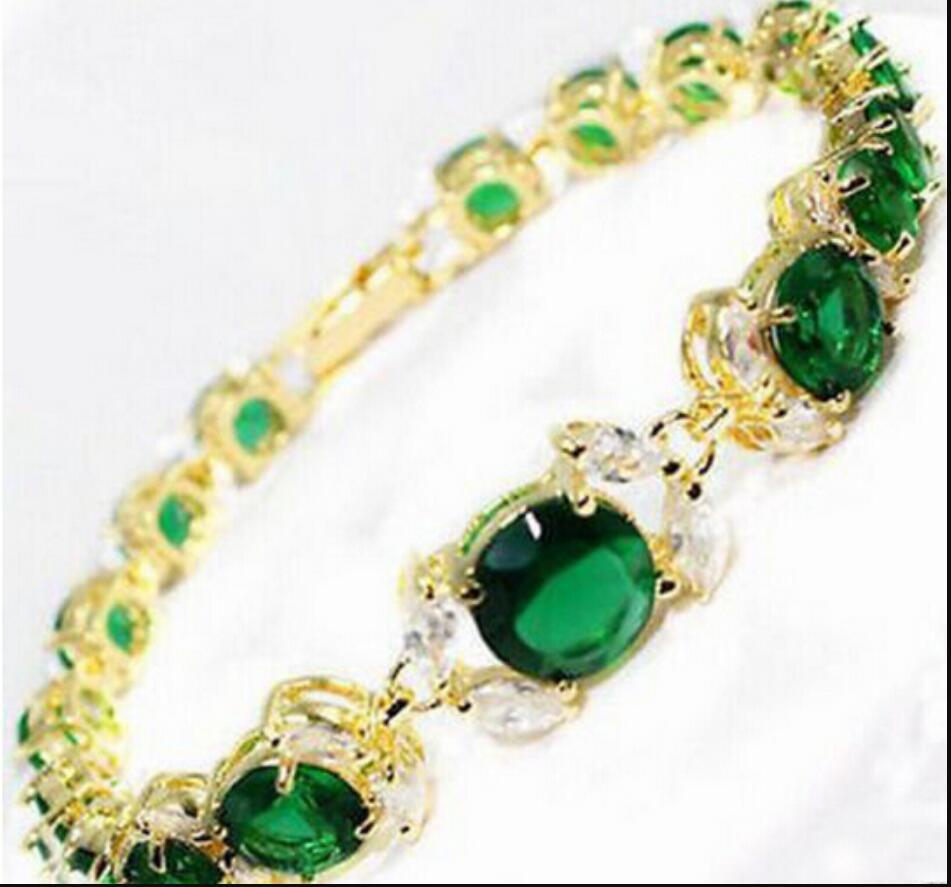 Pulseira 317 nova senhora 2017 verde pulseira de pérolas de zircônia pulseira de pérolas de aço diminuído 8 polegada