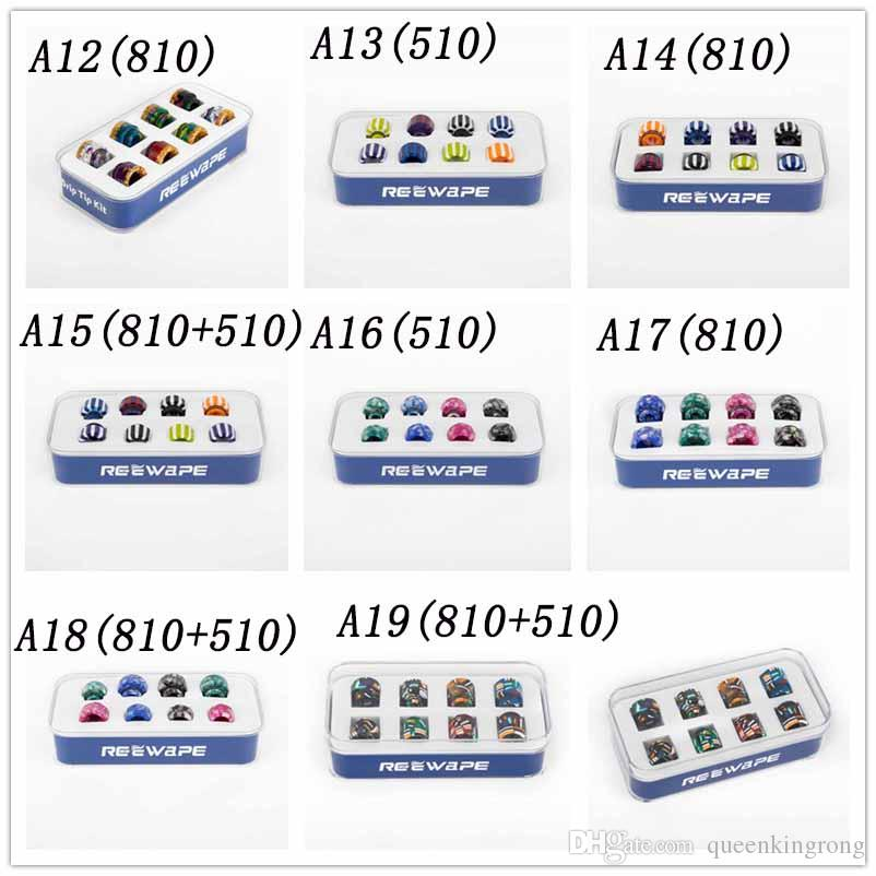 17 Styles Set Epoxy Resin 510/810 Drip Tips Kit dripper Tip Skin Grid Rainbow Mouthpiece for e cigs cigarette Mod Atomizer Vape High Quality