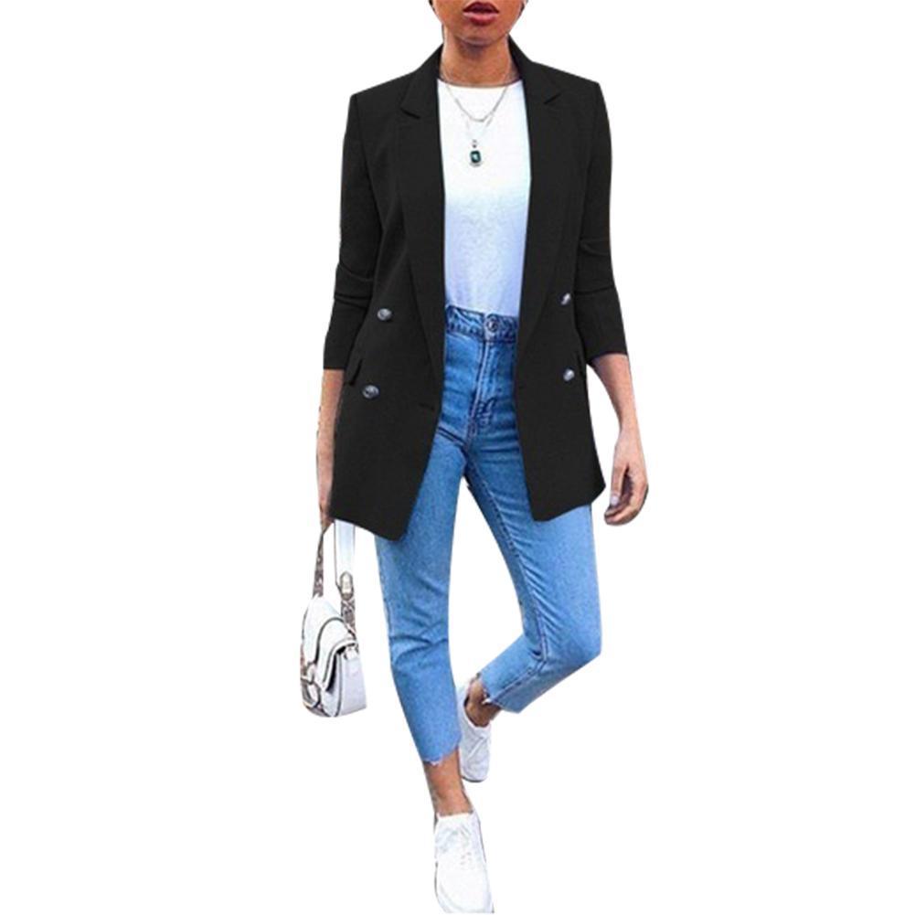Плюс размер осень моды офис леди сплошной цвет блейзер с длинным рукавом женский костюм куртка новых шикарных кардиганов